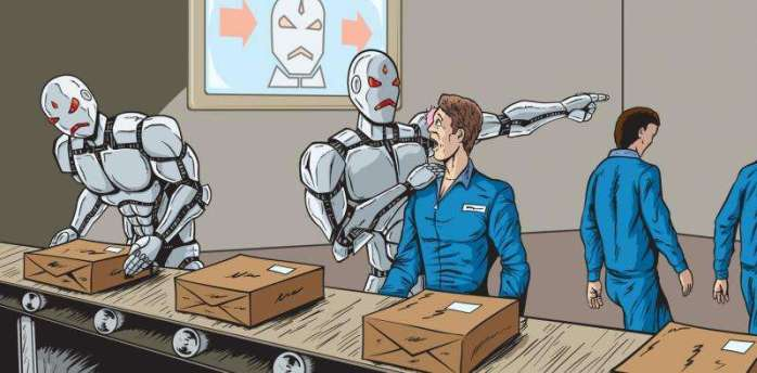 The image represents deskilling of labor and the rise of unemployment due to the mechanization of workplaces. It portrays two robots kicking employees out of a factory and taking their places. .