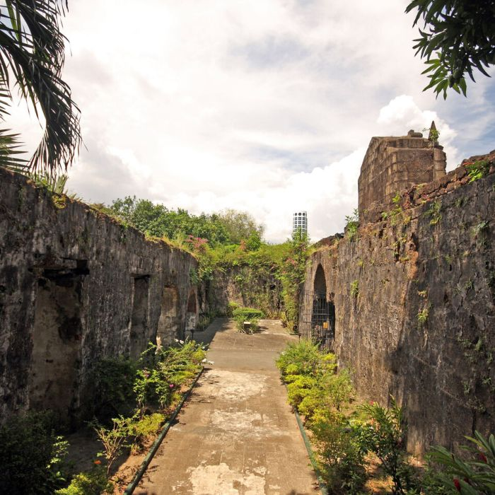 Ancient walls enclosing a cobbled pathway, lined with lush green plants.