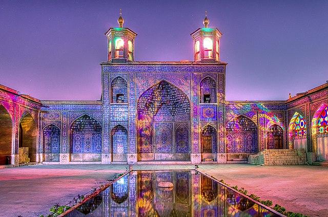 Colorful exterior of Nasri Al Mulk Mosque