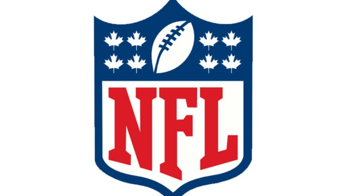 The NFL logo with Canadian Maple Leafs replacing the stars on the shield.