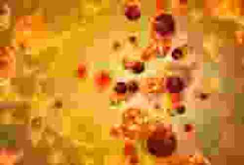 the orange image of cancer cells floating in an orange environment