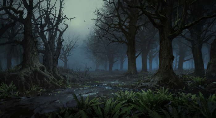 A misty forest filled with leafless trees and wolves in the distance.