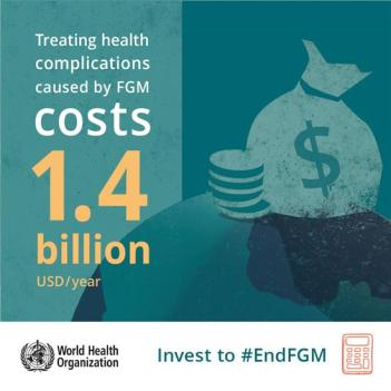 """The image of the WHO calculation of total healthcare costs of treating FGC's side effects. The image reads """"treating health complications caused by FGM costs 1.4 billion USD/year""""."""