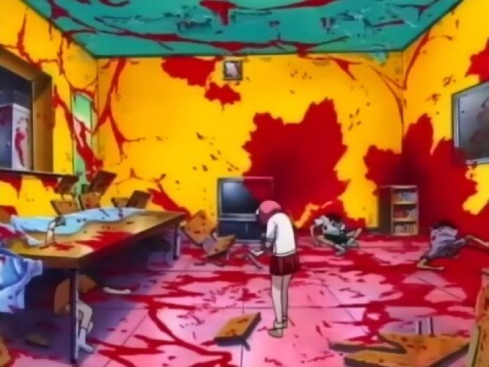 A scene from Elfen Lied of Lucy, a pink-haired girl, is standing in the middle of a room, its walls, ceiling and floor splattered with blood.