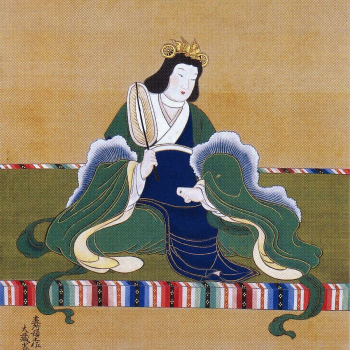 A Japanese-styled ancient artwork of Empress Suiko, sitting on a field of grass in a blew flowing gown.