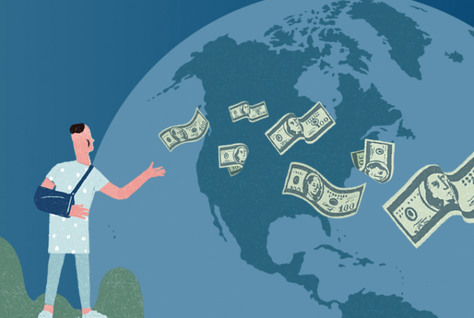 cartoon image of a man with a broken arm, looking at the North America standing outside the Earth in space and throwing dollars