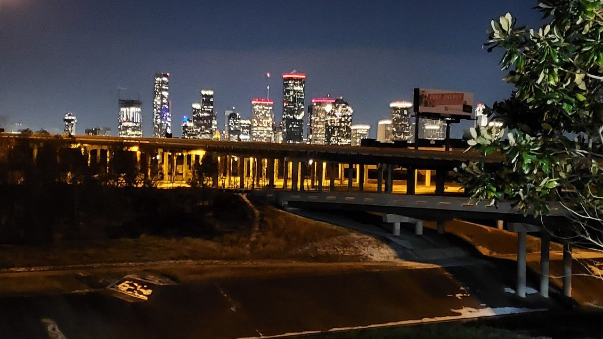downtown houston lit up