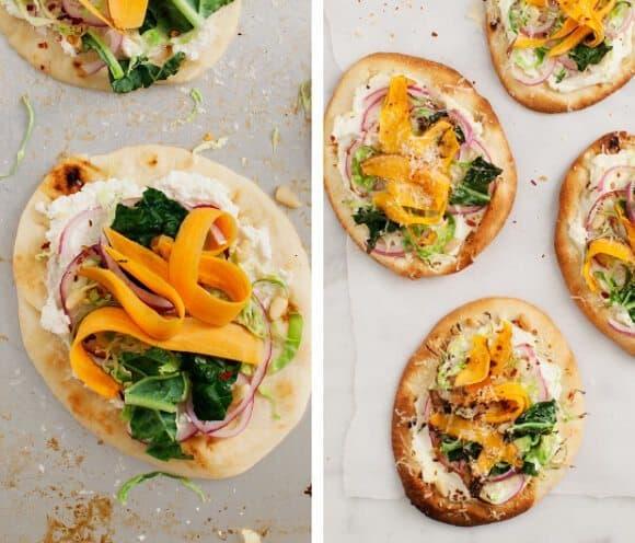 Holiday Recipes Mini Sweet Potato Pizzas by Love & Lemons | Three Hearts Blog