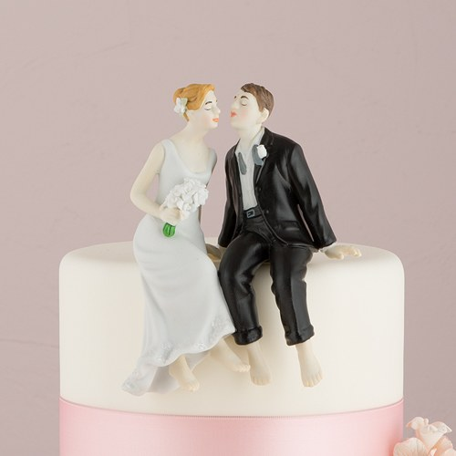 Whimsical Sitting Bride And Groom Cake Topper The Knot Shop