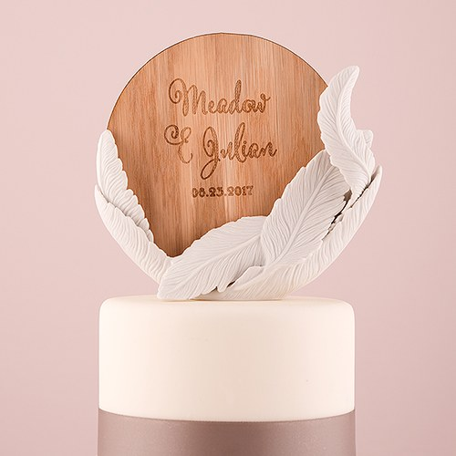 White Feather Porcelain Wedding Cake Topper with Personalized Veneer     White Feather Porcelain Wedding Cake Topper with Personalized Veneer Disc  in Feather Whimsy Design