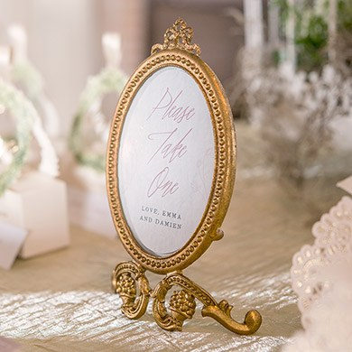 Small Baroque Frame Table Sign Holder - Gold - The Knot Shop