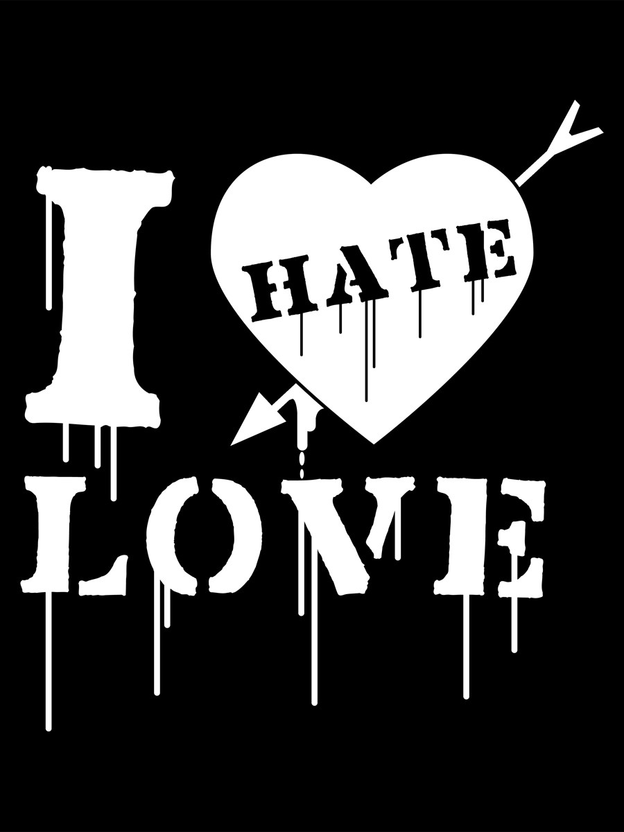 Anti Valentines Day T Shirt I Hate Love Black Womens