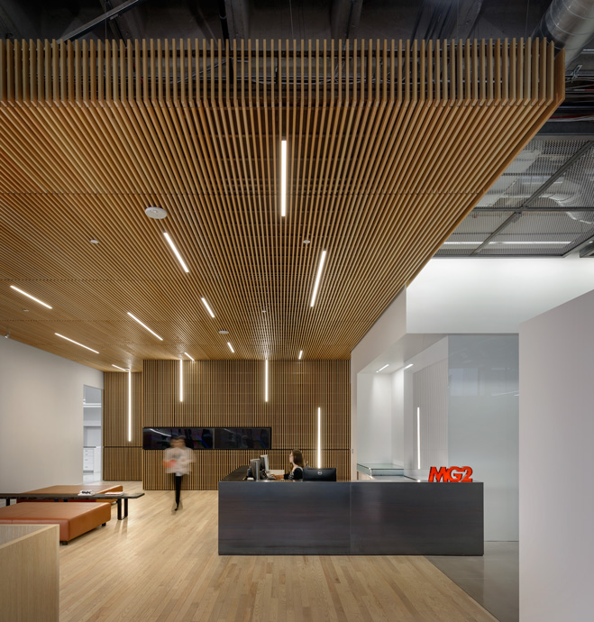 The reception area in MG2's Seattle office (Photo credit: Aaron Leitz)