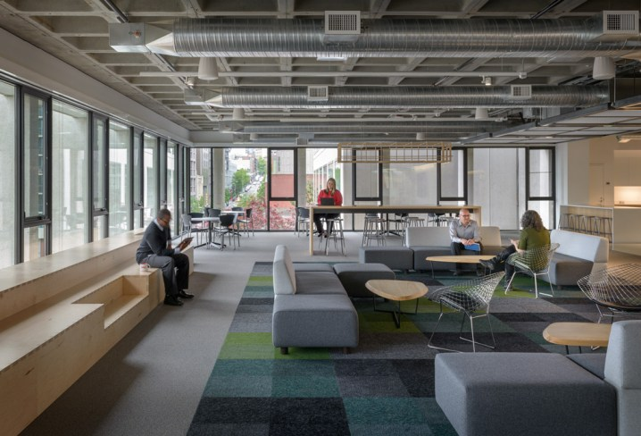 """The multi-functional 3,000 SF """"Town Square"""" space in MG2's office (Photo credit: Aaron Leitz)"""