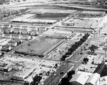 """Aerial view of the """"new"""" Carrollton Shopping Center, 1964. (Photo Credit: http://www.thepastwhispers.com/Old_New_Orleans.html)"""