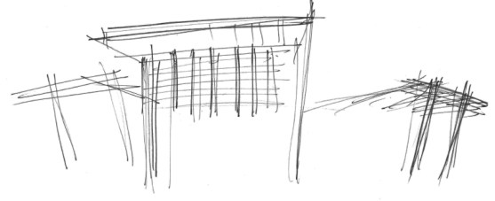 Early design sketch: New Orleans Costco warehouse building canopy