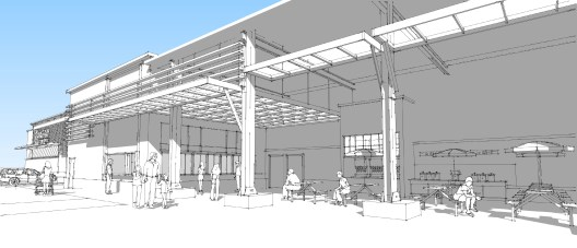 Design vignette: New Orleans Costco warehouse food service and seating area