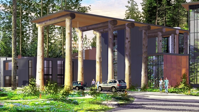 MG2 plans to use timber harvested from the Salish Lodge & Spa site as columns to support the roof of entry portals.