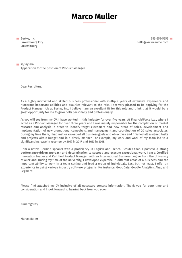 Product Manager Cover Letter Example  Kickresume