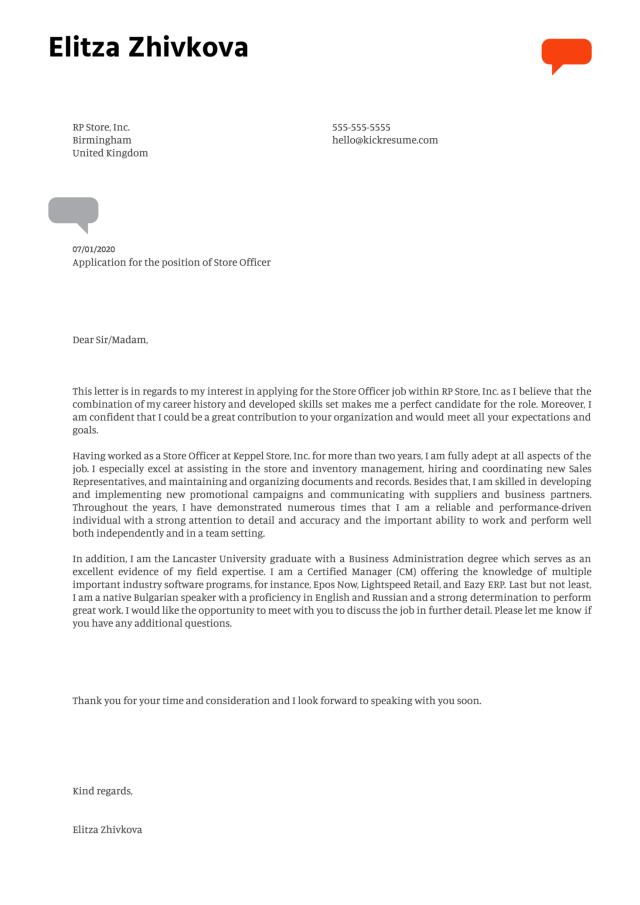 Store Officer Cover Letter Example  Kickresume