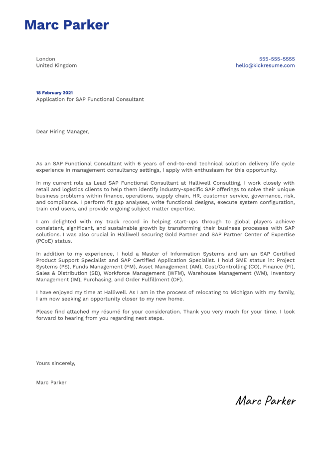 SAP Functional Consultant Cover Letter Example  Kickresume