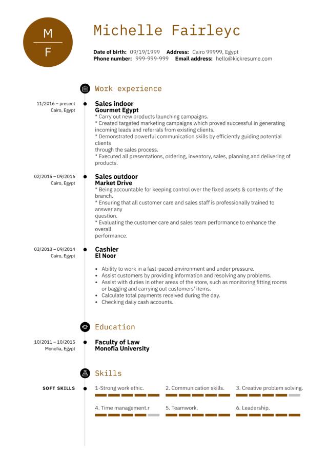 Sales Representative CV Example  Kickresume