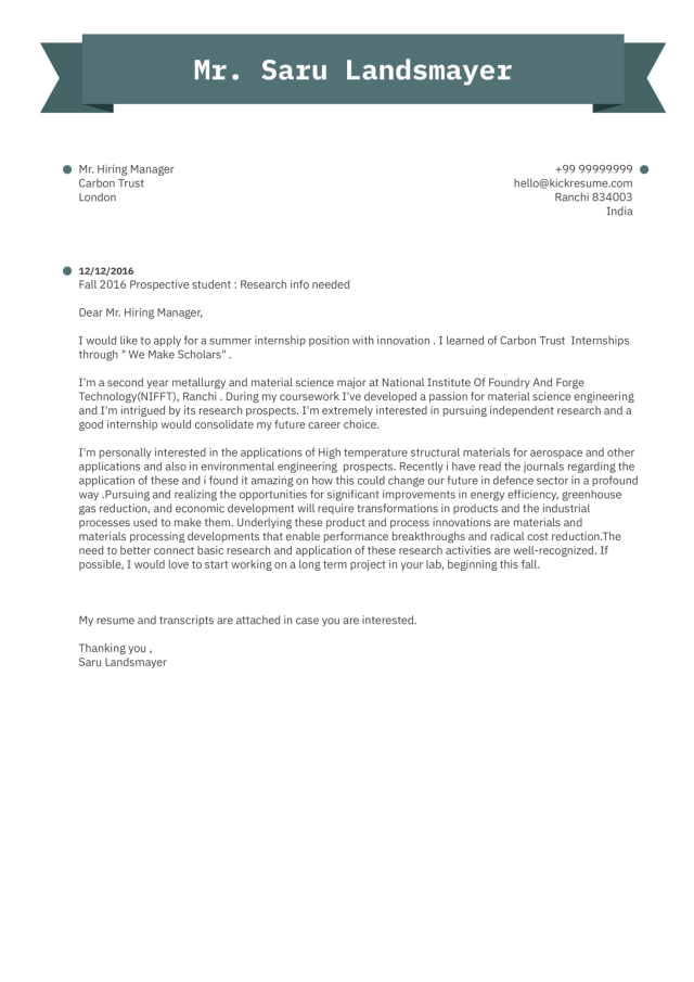 Research Intern Cover Letter Example  Kickresume
