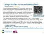 A preview of the starter slide about E coli converting plastic to vanillin