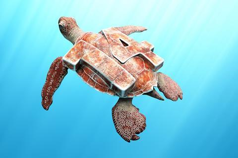 A digital illustration of a swimming turtle with a 14 on its shell