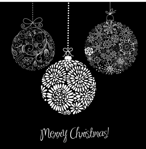 Black And White Christmas Ornaments RoyaltyFree Stock