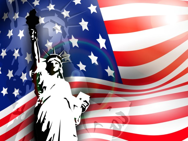 Statue Of Liberty On American Flag Background For 4th July ...