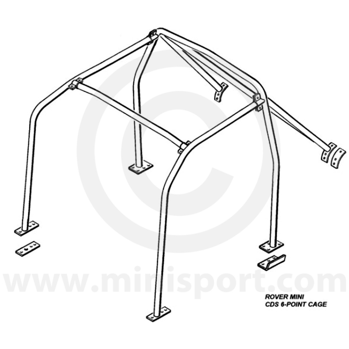 Mini 6 point bolt in roll cage safety device