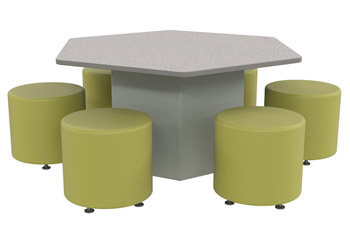 sonik hexagon table round ottoman package 26 h table w 16 h seats