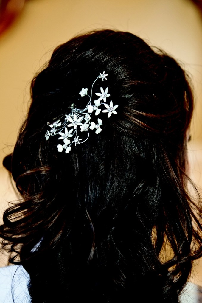 beauty photos - half-updo hair clip - inside weddings