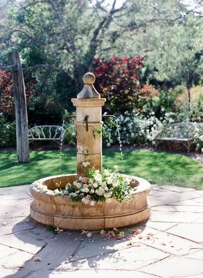 romantic garden fountain Romantic, Garden Party-Inspired Summer Wedding at a