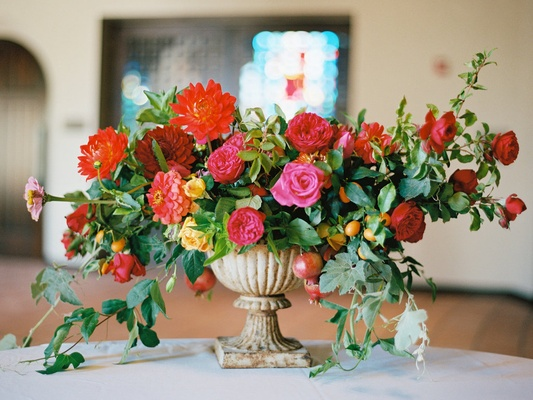 Outdoor Wedding With Vibrant Pink + Orange Décor In