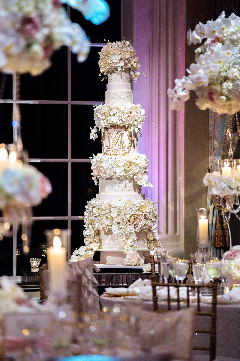 Cakes   Desserts Photos   Tracy Morgan   Megan Wollover s Cake     Tall wedding cake with lace details  sugar flower tiers  gold monogram  Tracy Morgan wedding