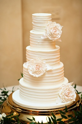 Wedding Cake Ideas  Simple and Clean Cake Designs   Inside Weddings White wedding cake with stripes and sugar peony flowers