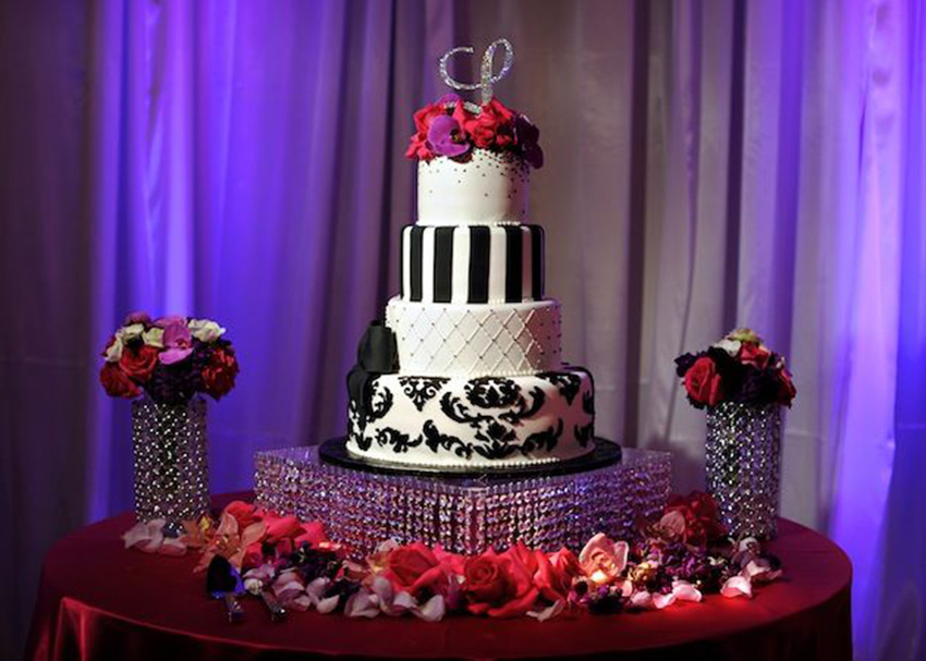 Wedding Cake Displays  Sparkling Crystal Cake Stands   Inside Weddings Square cake pedestal with crystal beads