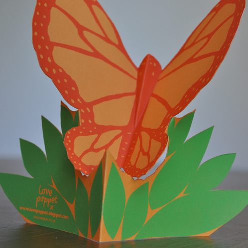 Hand-Cut, Silkscreen Orange Butterfly Card