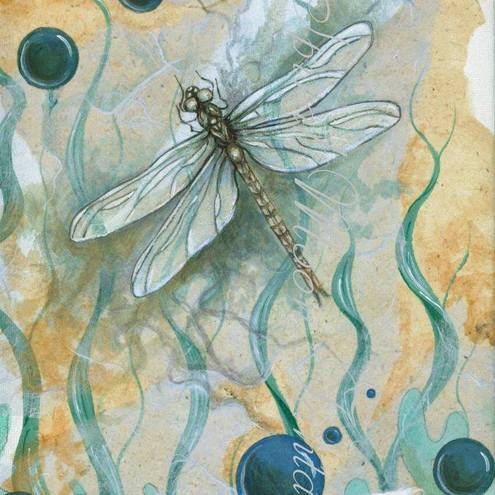 Print of dragonfly painting in blues and oranges