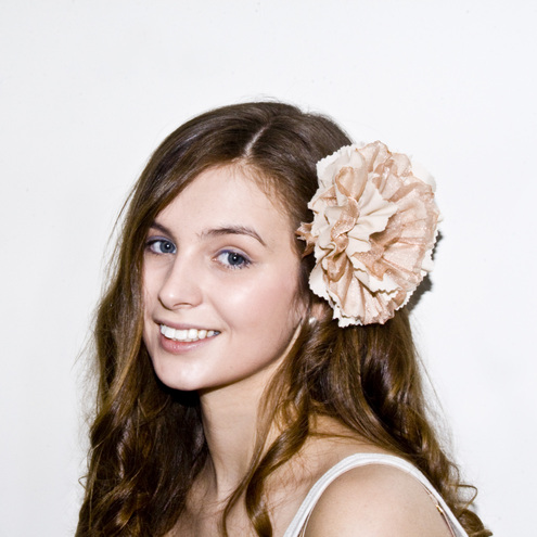 Coffee & cream cotton and organza flower hair accessory