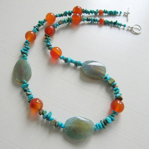 Twisted Agate Necklace with Carnelian and Turquoise