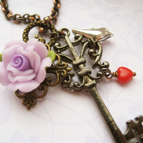 Gothic inspired purple rose key charm - Secrets - onesunnyafternoon