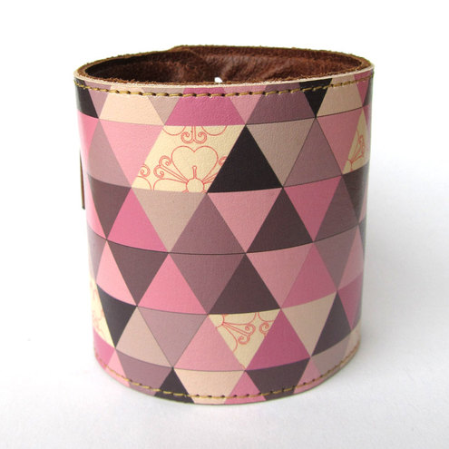 Leather Cuff wallet with pink triangle design