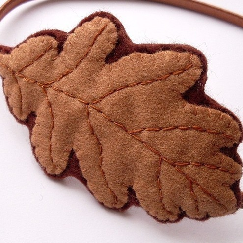Brown Oak Leaf, felt headband or fascinator