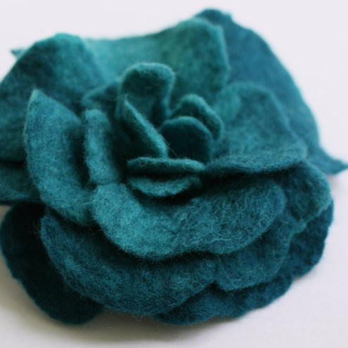 Handmade Felt Flower Pin/Brooch - Teal