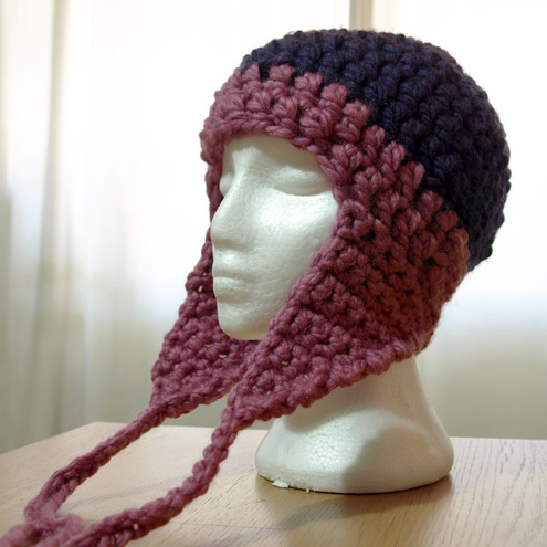 Honeysuckle meets purple crochet earflap hat