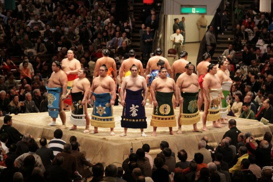 Sumo Wrestlers Lining Up