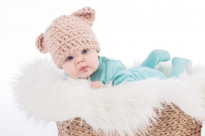 Baby in Bear Ear Hat